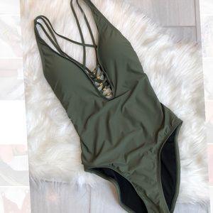 ✨Antonio Melani Army Green One Piece Swimsuit XS